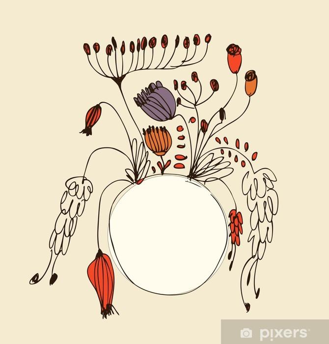 Pixerstick Aufkleber Runde Retro-Blumenstrauß mit Kreis-Rahmen - Zeichen und Symbole
