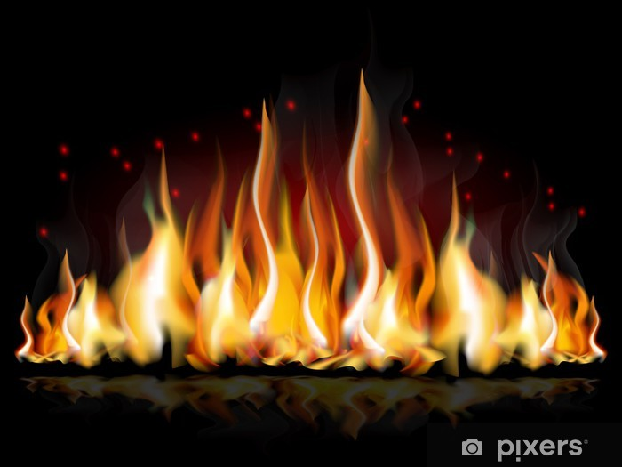 Burning flame Pixerstick Sticker - Natural Disasters