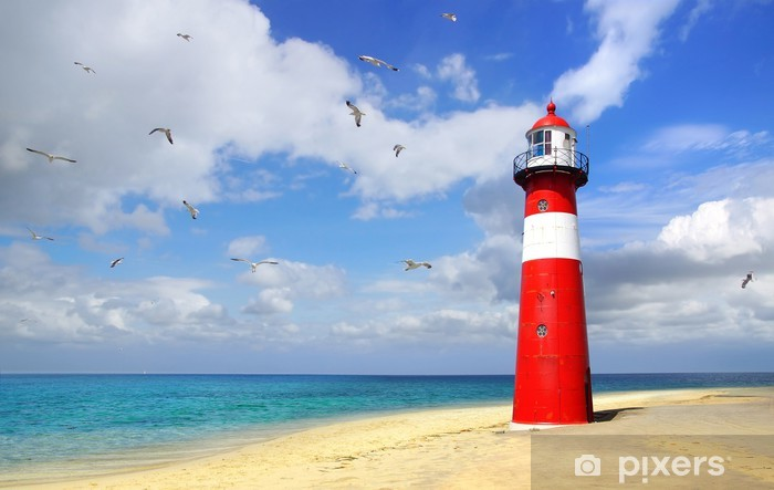 Lighthouse with flying seagulls. Westkapelle Pixerstick Sticker - Lighthouse