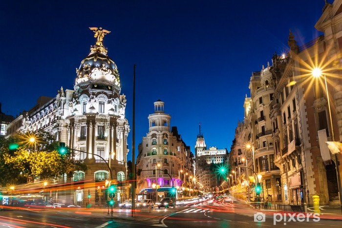 Naklejka Pixerstick Gran Via w Madrycie, Hiszpania, Europa. - Tematy