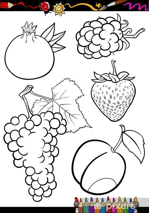 Karikatür Meyve Boyama Kitabı Için Belirlenen Duvar Resmi Pixers