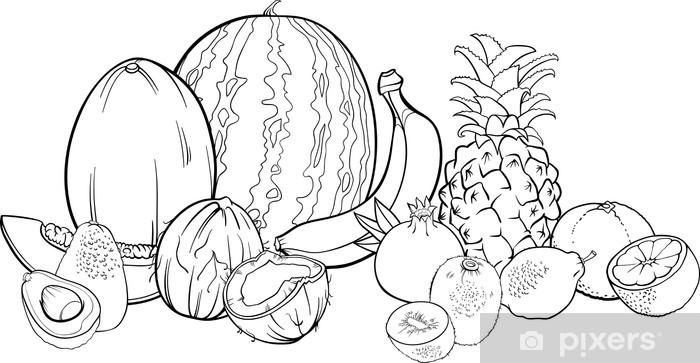 Boyama Kitabi Icin Tropikal Meyveler Illustrasyon Duvar Resmi