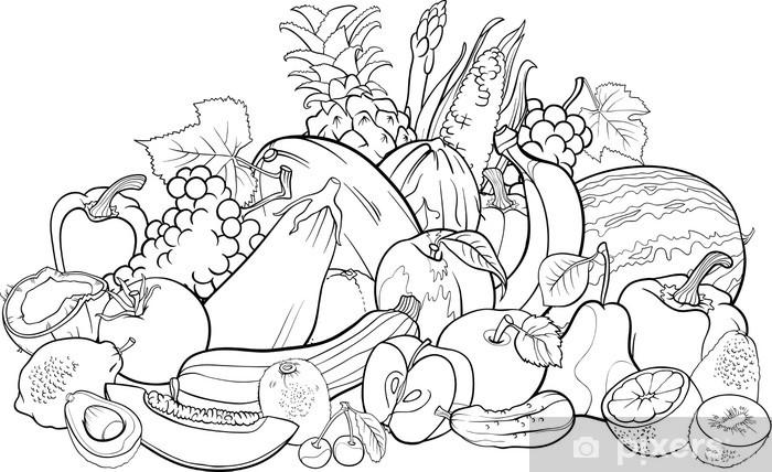 Carta Da Parati Frutta E Verdura Per Libro Da Colorare Pixers