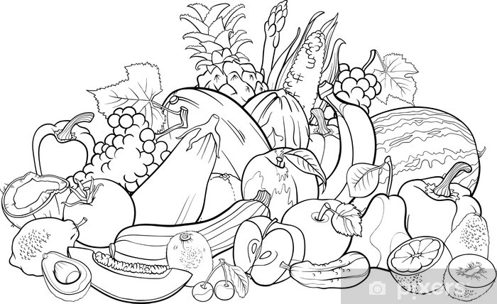 Fruits And Vegetables For Coloring Book Sticker • Pixers® - We Live To  Change