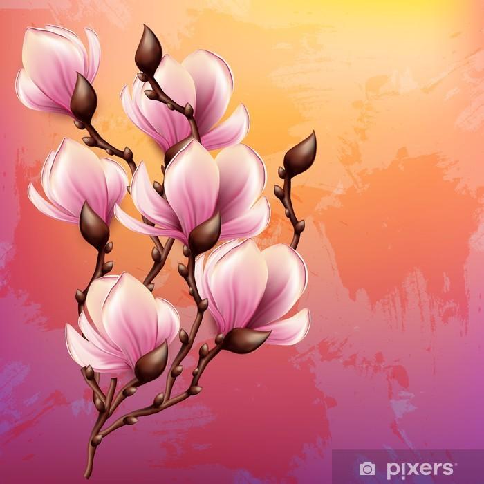 Plakat Akwarele ilustracji Magnolia gałąź - Tematy
