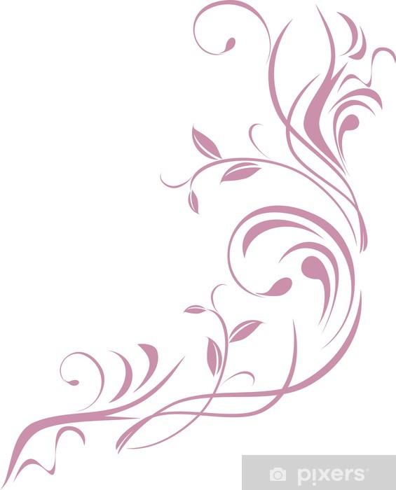 Naklejka Pixerstick Ozdobne kwiatowy element projektu samodzielnie na biały - Naklejki na ścianę