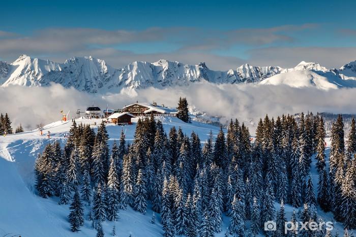 Pixerstick Sticker Ski Restaurant op de Piek van de Berg in de buurt van Megève in de Franse Alpen, - Thema's