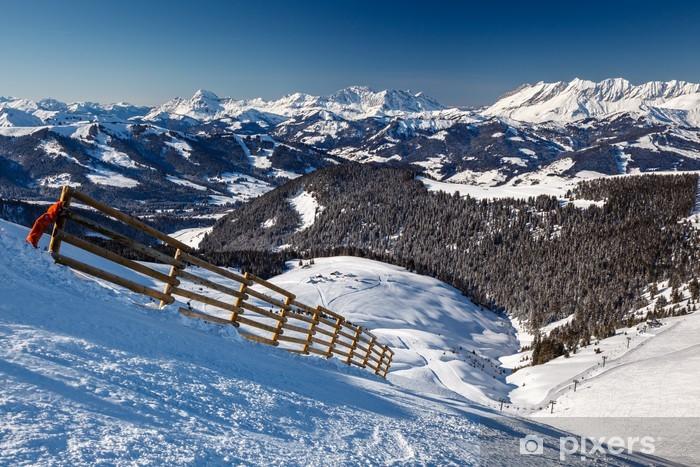 Papier peint vinyle Sommet et Piste de ski près de Megève dans les Alpes françaises, France - Vacances