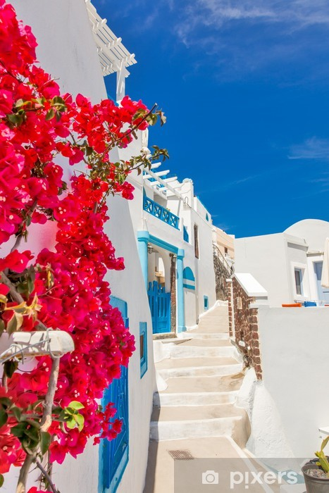 Sticker Pixerstick Grèce île de Santorin dans les Cyclades, sites traditionnels de couleur - Thèmes