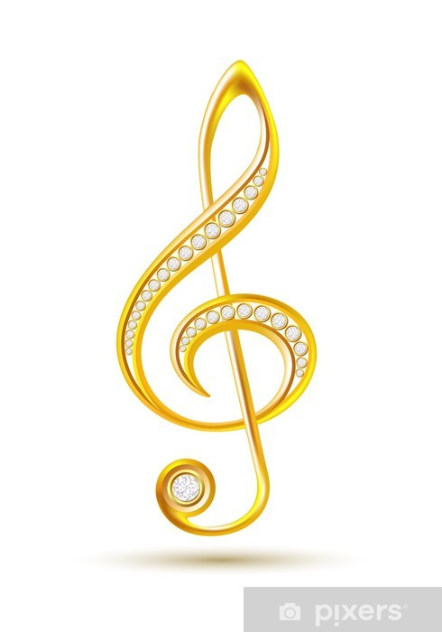 Pixerstick Aufkleber Goldene Violinschlüssel mit Diamanten - Musik