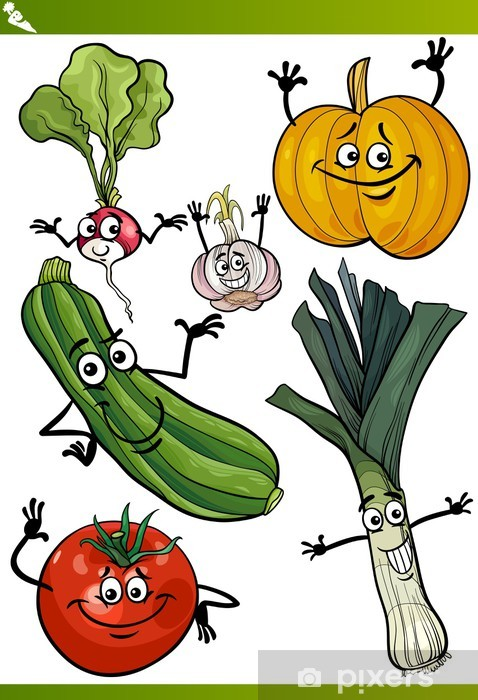 Fotomural Estándar Verduras conjunto de dibujos animados - Comida