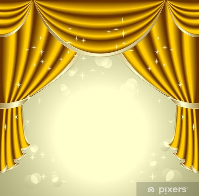 fotobehang achtergrond met gouden gordijnen vinyl