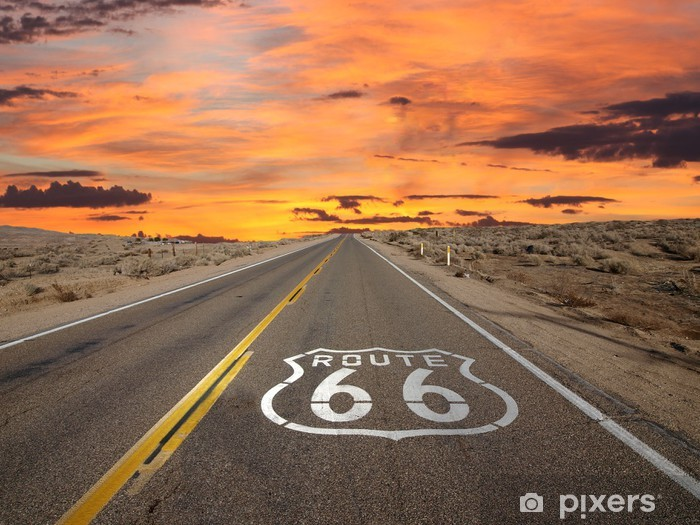 Afwasbaar Fotobehang Route 66 Pavement Log Sunrise Mojavewoestijn - Thema's