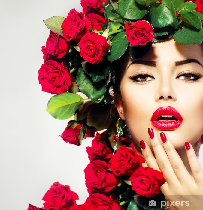 Beauty Fashion Model Girl Portrait with Red Roses Hairstyle Vinyl Wall Mural - Themes