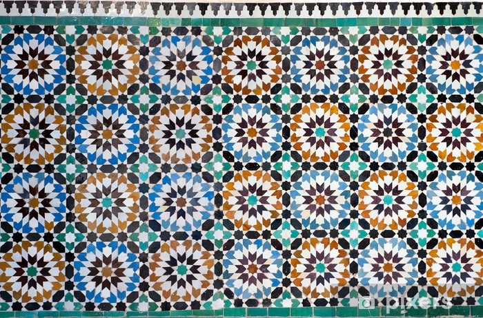 moroccan vintage tile background Pixerstick Sticker - Morocco