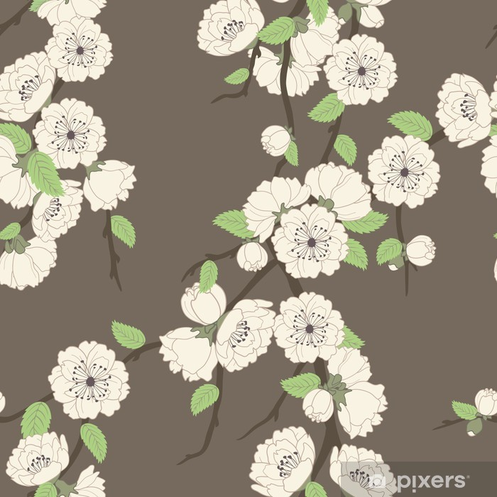 Vector seamless pattern with sakura branch Poster - Flowers