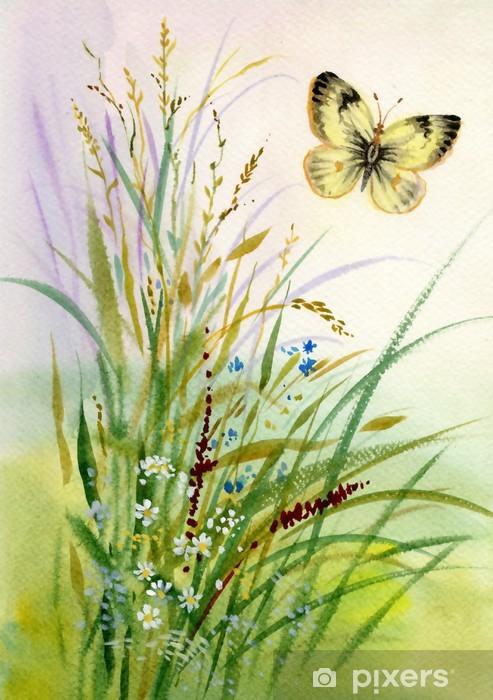 Vinyl-Fototapete Wilde Blumen und ein Schmetterling - Jahreszeiten