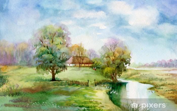 Watercolor Landscape Collection Village Life Sticker Pixers