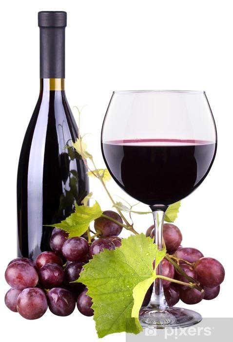 Fototapete Reife Trauben Wein Glas Und Eine Flasche Wein