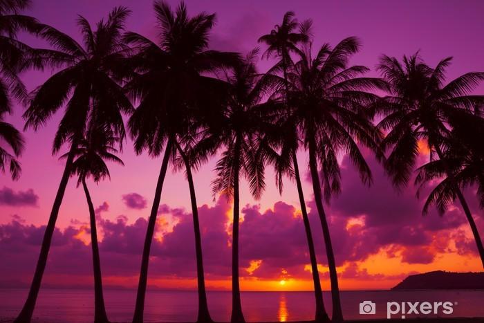 Fotomural Estándar Las palmeras silueta al atardecer en la isla tropical, Tailandia - Temas