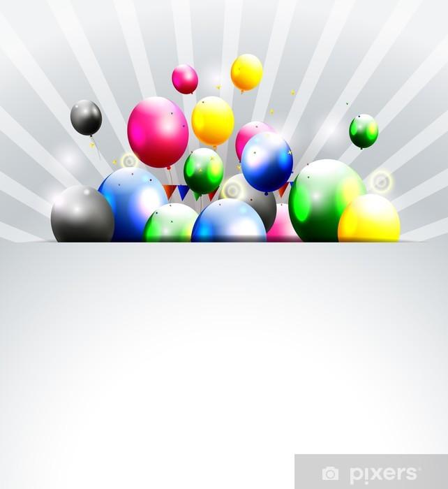 Sticker Pixerstick Anniversaire de fond avec le ballon et le lieu pour le texte - Célébrations