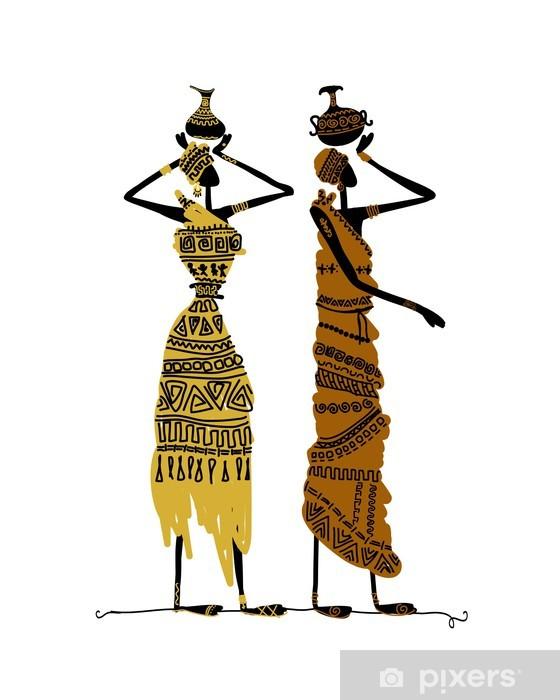 Fotomural Estándar Mano boceto dibujado de la mujer étnicos con jarras - Entretenimiento