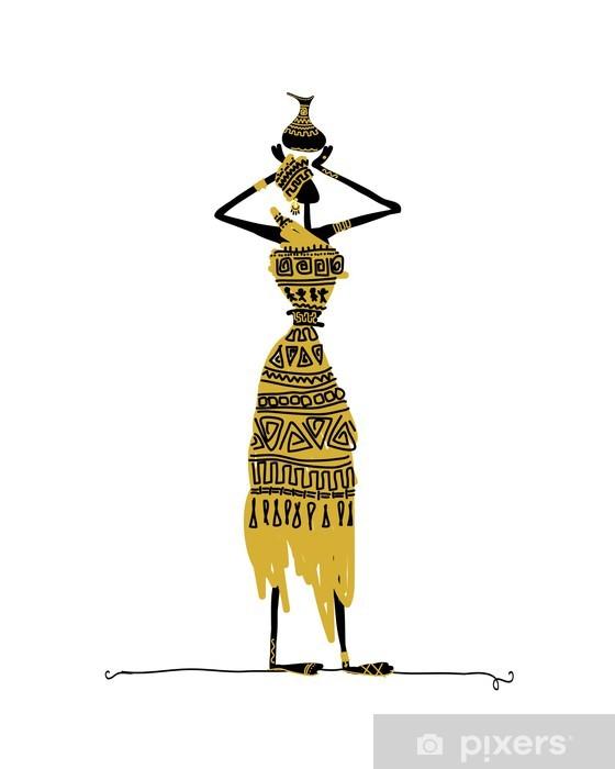 Nálepka Pixerstick Ručně malovaná skica etnické žena s džbán - Zábava