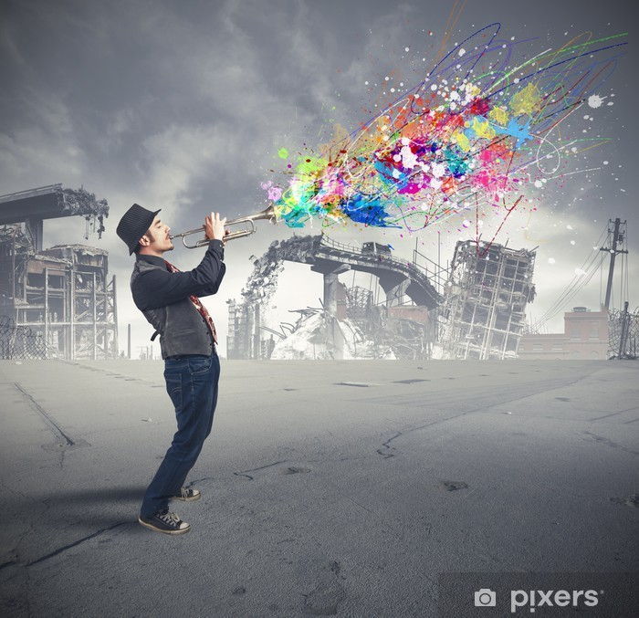 Afwasbaar Fotobehang Trompetter - jazz