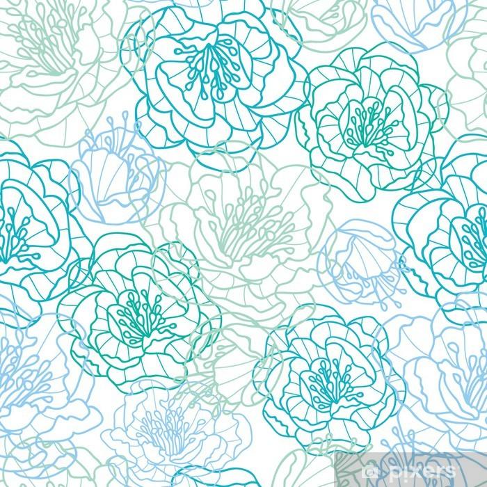 Zelfklevend Fotobehang Vector blauwe lijn kunst bloemen elegante naadloze patroon achtergrond - Bloemen