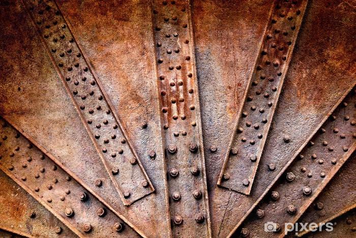Pixerstick Sticker Schroeven en klinknagels op roestige metalen plaat, bodem - Texturen