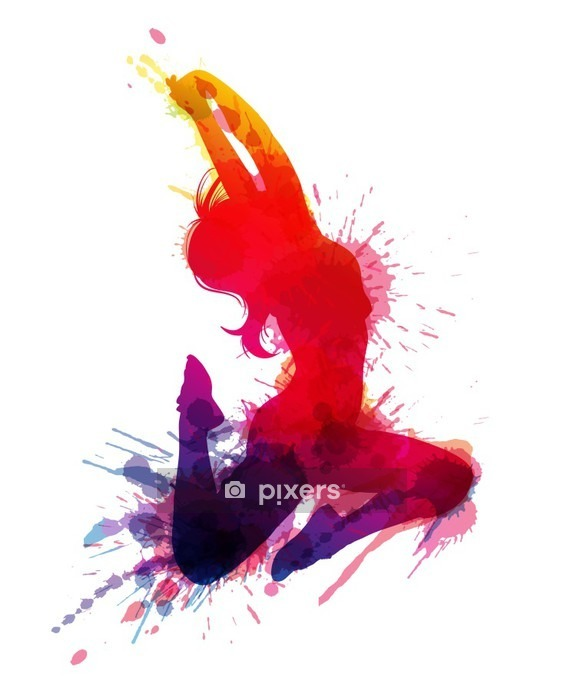 Dancing girl with grungy splashes Wall Decal - Wall decals
