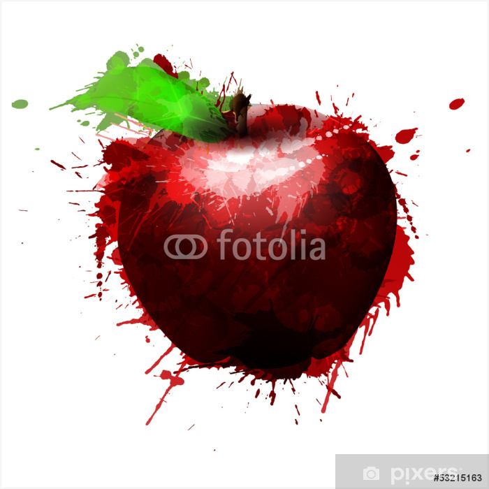Apple made of colorful splashes on white background Poster - Other Feelings