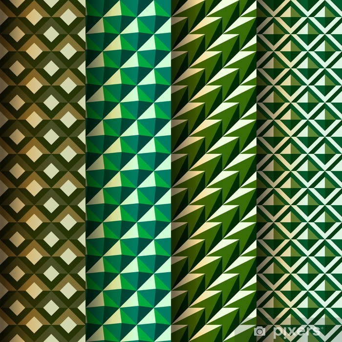 Set seamless geometrical patterns, vector Eps 10 illustration. Poster - Textures