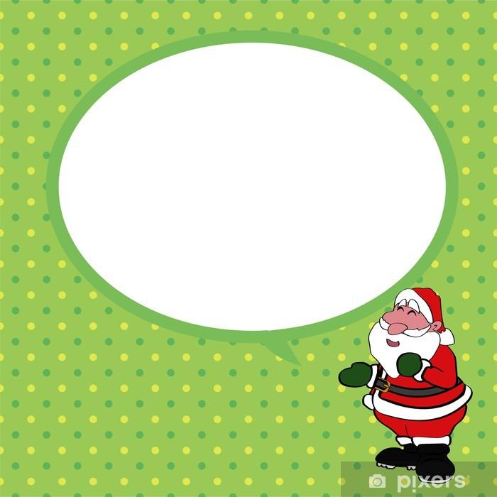Fototapeta winylowa Święty Mikołaj z dymka zielonym tle Wektor - Tła