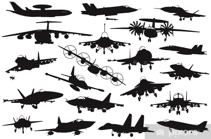 Military aircraft silhouettes collection  EPS 8 Sticker - Pixerstick
