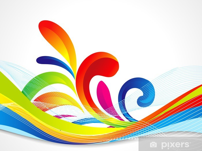 Abstract Colorful Wave Background Wall Mural Vinyl