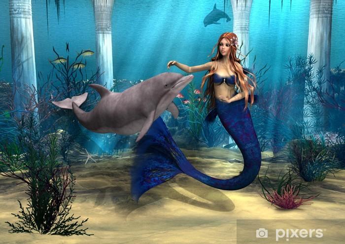 Mermaid and Dolphin Pixerstick Sticker - Destinations