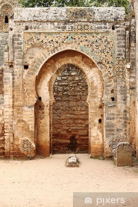 Arabic door in Necropolis of Cellah. Rabat, Morocco Vinyl Wall Mural - Themes