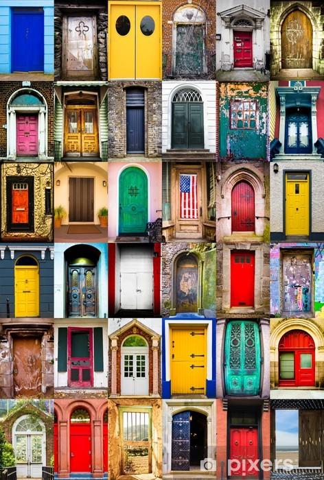 Fotomural Estándar Collage colorido de la variedad de puertas -