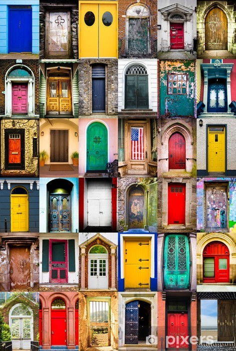 Colorful collage of variety of doors Vinyl Wall Mural -