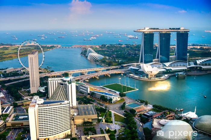 Singapore city skyline at sunset. Pixerstick Sticker - Themes