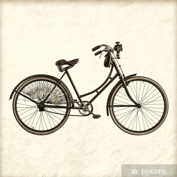 Retro styled image of a vintage lady bicycle Vinyl Wall Mural - Themes