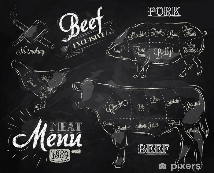 Pixerstick Aufkleber Kreide-Illustration eines Jahrgangs Grafikelement - Gerichte