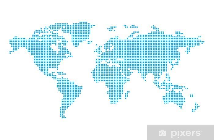 Papier peint vinyle Carte du monde en pixels - Signes et symboles