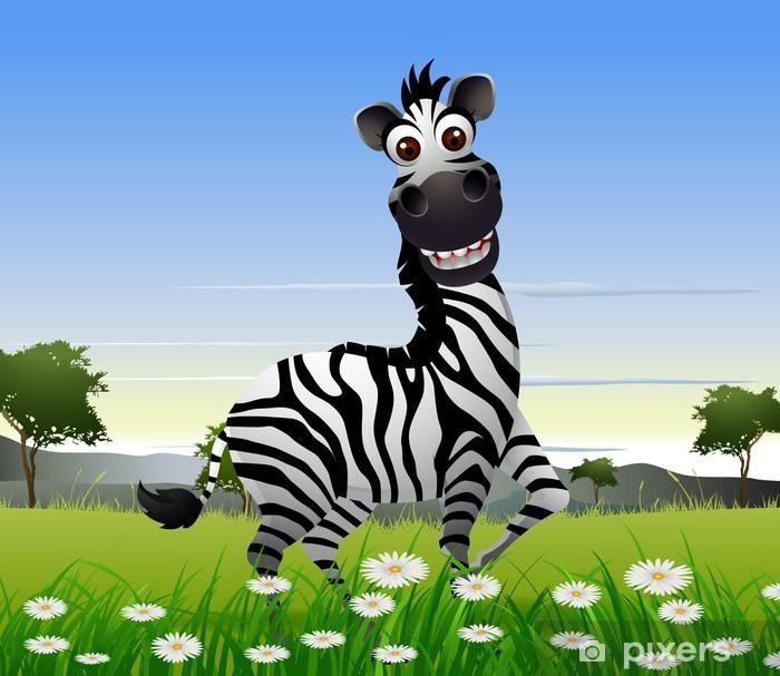 Carta da parati cute zebra cartone animato con sfondo la natura
