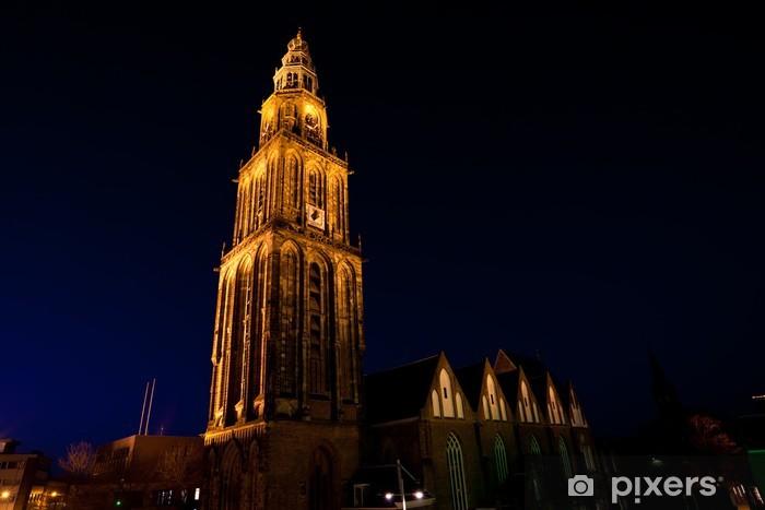 famous Martinitoren (Martini tower) in Groningen at night Door Sticker - Europe