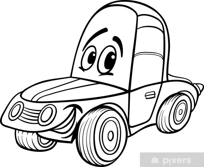 Fotomural Ilustración de dibujos animados de coches para libro para ...