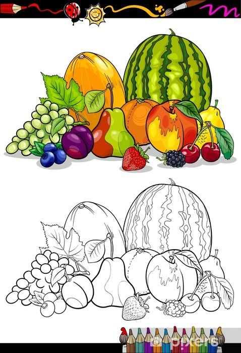 Boyama Kitabı Için Meyve Grup Illüstrasyon Duvar Resmi Pixers