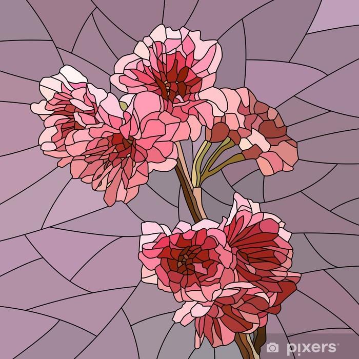 Papier peint vinyle Vector illustration de la branche de cerisier à fleurs. -