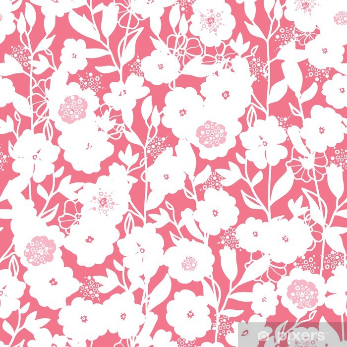 Fototapeta zmywalna Wektor białe i różowe kwiaty bezszwowe tło wzór - Kwiaty